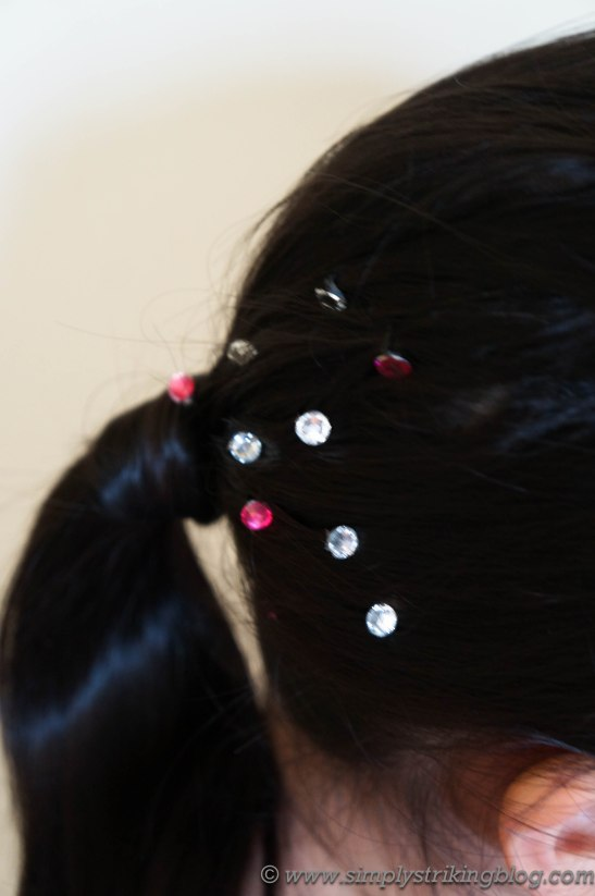 hairpins jewelled in hair