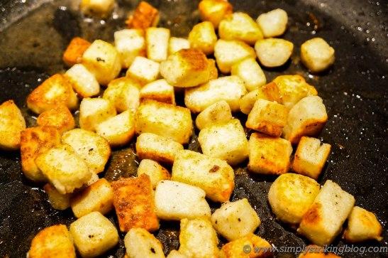 mattar paneer frying cheese