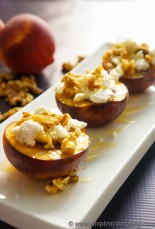 roasted peaches with goat cheese, walnuts, and honey