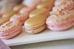 princess macarons gold pink monogram