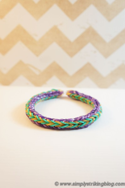 Rainbow Loom Gold and Teal Double Cross Fishtail